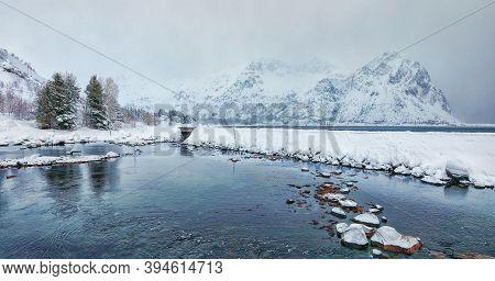 Fantastic Winter Scene Of Rolvsfjorden On Vestvagoy Island With Snowy  Mountain Peaks On Lofoten Isl