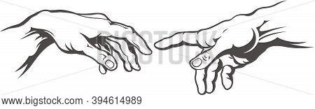 Hand To Hand Tattoo. Creation Of Adam.
