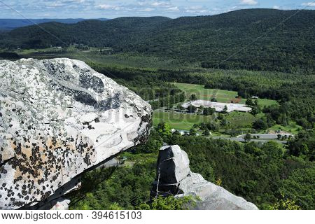 Rocky Outcroppings Covered In Lichen On Top Of Monument Mountain In Great Barrington Massachusetts O