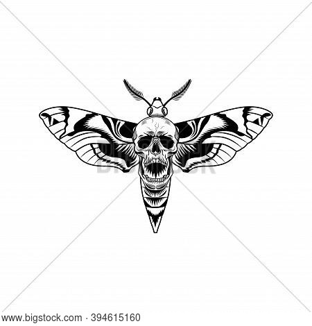 Gothic Moth With Skull Vector Illustration. Monochrome Butterfly With Death Symbol. Insect Or Gothic