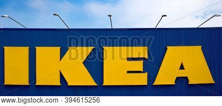 Bologna / Italy - August 24, 2019:  Close Up Ikea Sign. Ikea Is The World\'s Largest Seller Of Ready