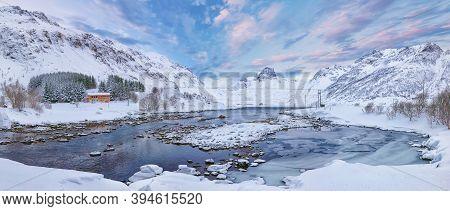 Marwelous Winter Scene Of Kartfjorden On Vestvagoy Island With Snowy  Mountain Peaks On Lofoten Isla