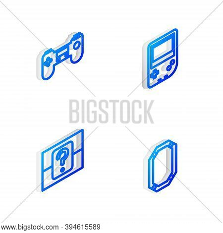 Set Isometric Line Portable Video Game Console, Gamepad, Mystery Random Box And Poker Icon. Vector