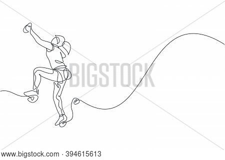 Single Continuous Line Drawing Of Young Muscular Climber Woman Climbing Hanging On Mountain Grip. Ou