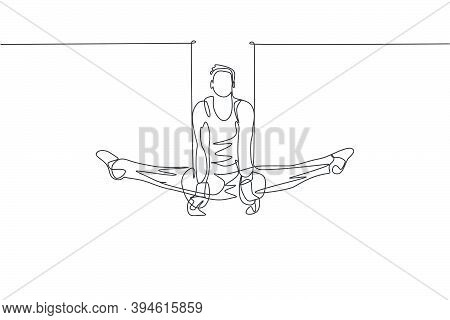 One Single Line Drawing Of Young Handsome Gymnast Man Exercising Steady Rings Graphic Vector Illustr