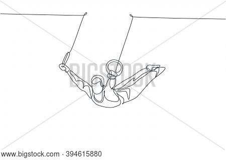 Single Continuous Line Drawing Young Handsome Professional Gymnast Man Perform Acrobatic Motion. Ste