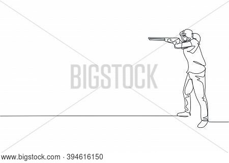 One Single Line Drawing Young Woman Practicing To Shot Target In Range On Shooting Training Ground G