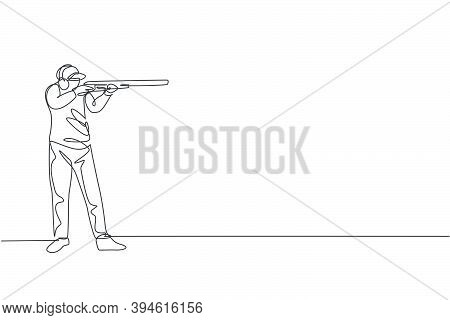 One Single Line Drawing Of Young Man Practicing To Shot Target In Range On Shooting Training Ground