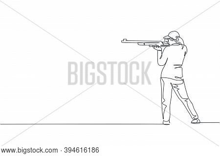 One Single Line Drawing Young Woman Practicing To Shot Target In Range On Shooting Training Ground V