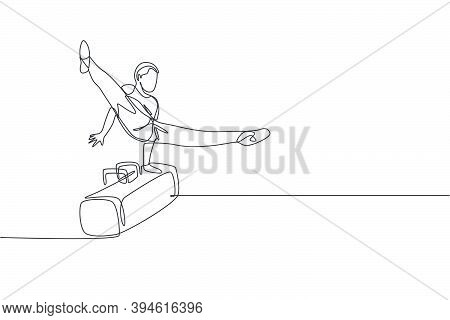 One Continuous Line Drawing Of Young Man Exercising Pommel Horse At Gymnastic. Gymnast Athlete In Le