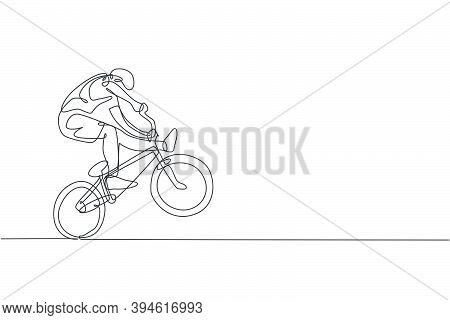 One Single Line Drawing Of Young Bmx Bicycle Rider Performing Freestyle Trick On Street Vector Illus