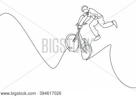 Single Continuous Line Drawing Of Young Bmx Cycle Rider Show Jumping Into The Air Trick In Skatepark