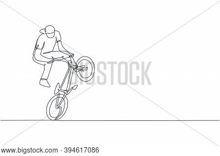 One Continuous Line Drawing Of Young Bmx Bicycle Rider Performing Dangerous Trick At Skatepark. Extr