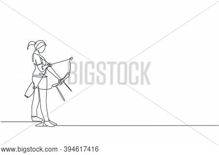 One Single Line Drawing Of Young Archer Woman Focus Exercising Archery To Hit Target Graphic Vector