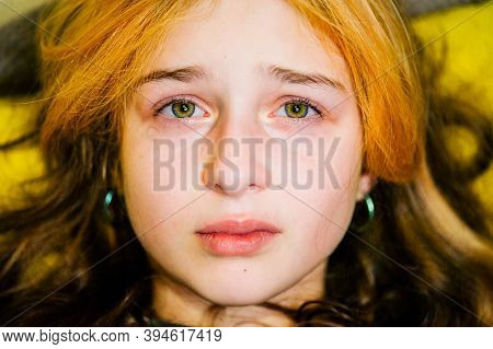 Little Sad Girl After Crying. Crying Little Beautiful Girl With Sad Green Eyes And Frowning Face