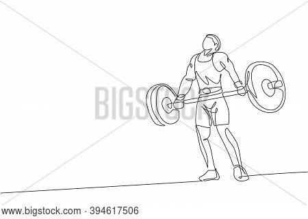 One Continuous Line Drawing Of Young Bodybuilder Man Doing Exercise With A Heavy Weight Bar In Gym.