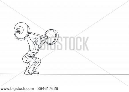 One Single Line Drawing Of Fit Young Athlete Muscular Woman Lifting Barbells Working Out At A Gym Ve