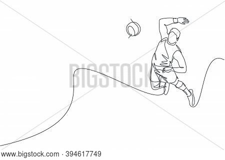 One Continuous Line Drawing Of Young Male Professional Volleyball Player In Action Jumping Smash On
