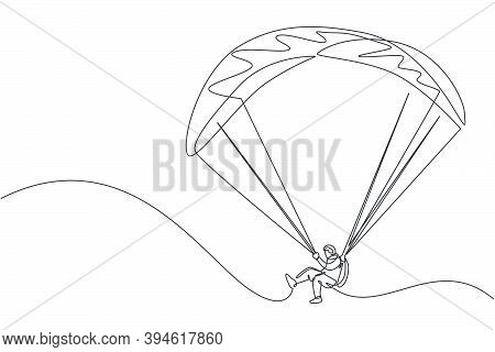 One Continuous Line Drawing Of Young Bravery Man Flying In The Sky Using Paragliding Parachute. Outd