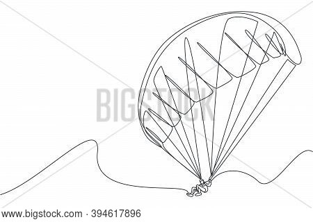 Single Continuous Line Drawing Of Young Tourist Man Flying With Paragliding Parachute On The Sky. Ex