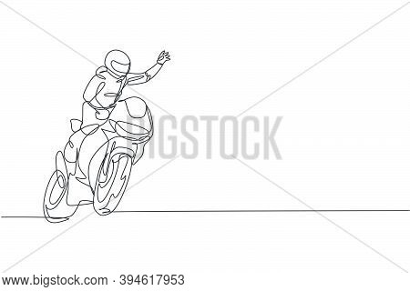 One Continuous Line Drawing Of Young Moto Racer Wave His Hand To Spectators. Super Bike Racing Conce