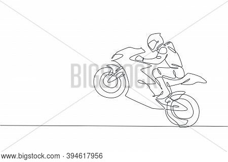 One Single Line Drawing Of Young Moto Racer Jumping His Motorcycle To Celebrate Winning Vector Illus
