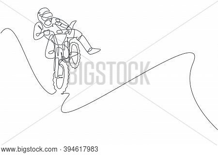 One Continuous Line Drawing Of Young Motocross Rider Jumping Fly Acrobatic At Race Track. Extreme Sp