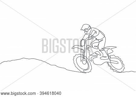 One Single Line Drawing Of Young Motocross Rider Climb Ground Hill At Race Track Vector Graphic Illu