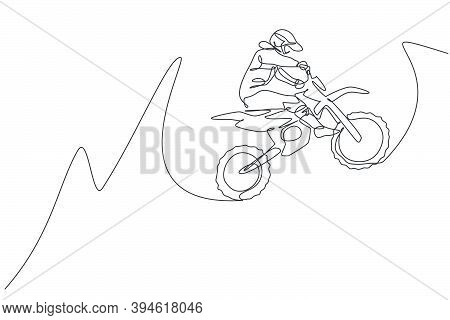 One Continuous Line Drawing Of Young Motocross Rider Jumping Fly High Into The Air. Extreme Sport Co