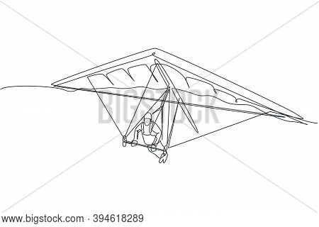 One Continuous Line Drawing Of Young Bravery Man Flying In The Sky Using Hang Gliding Parachute. Out