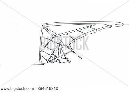 One Single Line Drawing Of Young Sporty Man Flying With Hang Gliding Parachute On The Sky Graphic Ve
