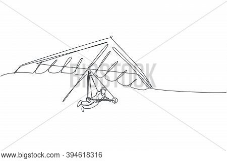 One Single Line Drawing Of Young Sporty Man Flying With Hang Gliding Parachute On The Sky Vector Gra
