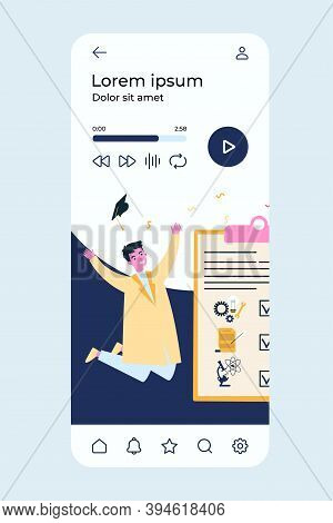 Happy Student In Gown Celebrating Graduation. Diploma, University, College Flat Vector Illustration.