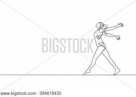 One Single Line Drawing Of Young Beauty Gymnast Girl Exercise Floor Rhythmic Gymnastic At Gym Vector