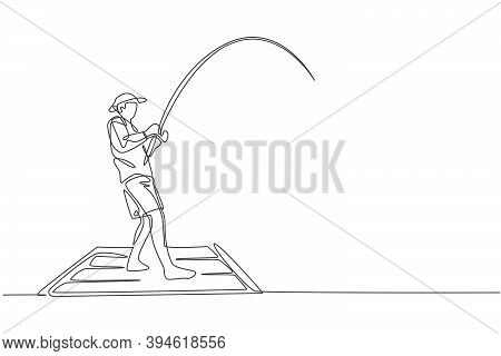 One Single Line Drawing Of Young Happy Fisher Man Standing And Flyfishing At The Wooden Dock Pier Ve