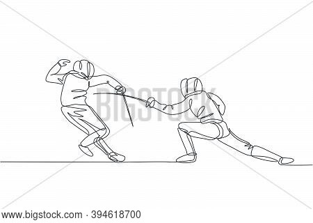 Single Continuous Line Drawing Of Two Young Professional Fencer Athlete Men In Fencing Mask And Rapi