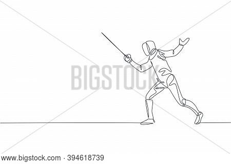 One Continuous Line Drawing Of Young Woman Fencing Athlete Practice Fighting On Professional Sport A