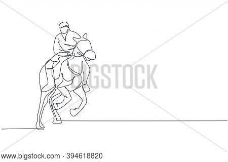 One Continuous Line Drawing Young Horse Rider Man In Action To Run. Equine Training At Racing Track.