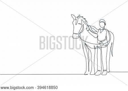 One Continuous Line Drawing Of Young Horse Rider Man Rubbing And Stroking Horsehair At Stable. Equin