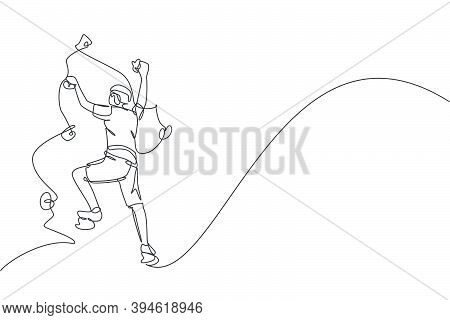 Single Continuous Line Drawing Of Young Muscular Rockclimber Man Climbing Hanging On Mountain Grip.