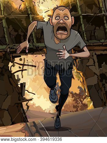 Funny Cartoon Frightened Man Running From Fire In Ruins