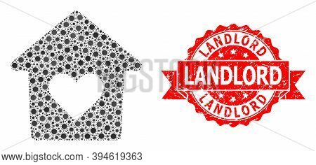 Vector Collage Lovely House Of Sars Virus, And Landlord Dirty Ribbon Seal. Virus Particles Inside Lo
