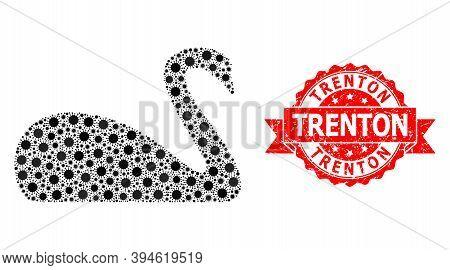 Vector Collage Goose Of Flu Virus, And Trenton Dirty Ribbon Seal Imitation. Virus Elements Inside Go