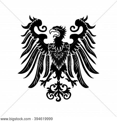 Severe Noble Heraldic Eagle Vector Illustration. Imperial Heraldry, Hawk With Open Wings And Beak. P