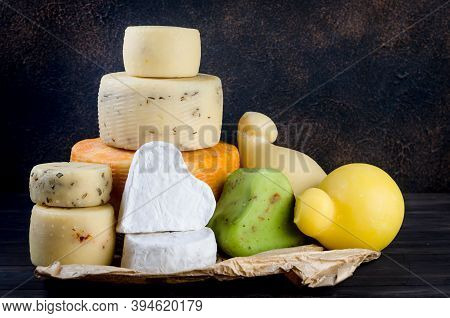 Assorted Homemade Cheesy Of Different Kinds With Vegetables, Fruits, Cookies And Nuts On Table.  Fre