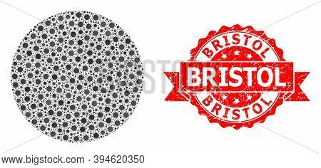 Vector Mosaic Filled Circle Of Virus, And Bristol Unclean Ribbon Stamp Seal. Virus Elements Inside F