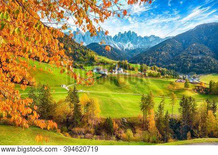Marvelous Autumn Scene Of Magnificent  Santa Maddalena Village In Dolomites.  Location: Santa Maddal