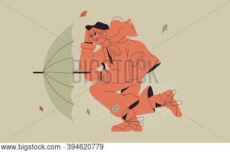 Woman In Cool Coat With Umbrella Fighting With Strong Wind Or Storm. Trendy Vector Illustration Or P
