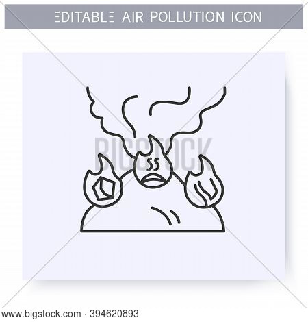 Household Air Pollution. Incineration Of Household Waste. Burning Landfill. Environment Pollution An