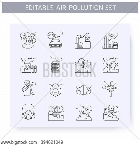 Air Pollution Line Icons Set. Factories Emissions, Cars, Wood Fires, Refineries And More. Environmen